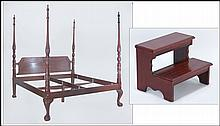CARVED MAHOGANY FOUR-POSTER BED.
