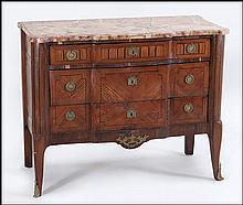A FRENCH LOUIS XV ORMOLU MOUNTED BRECCIA MARBLE TOP COMMODE.