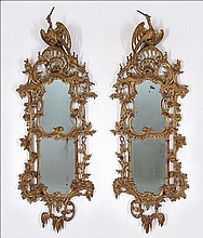 A PAIR OF EARLY 19TH CENTURY GEORGIAN GESSO AND GILTWOOD MIRRORS.