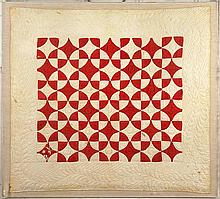 Red and White Orange Peel Baby Quilt.