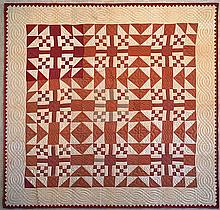 A Red and White Freeform Design Quilt.
