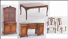 CARVED WOOD DINING SUITE.