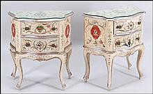 PAIR OF HAND-PAINTED WOOD NIGHT STANDS.