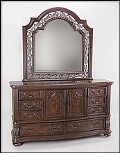 CONTEMPORARY MAHOGANY DRESSER WITH MIRROR.