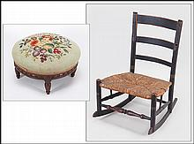 NEEDLEPOINT UPHOLSTERED FOOTSTOOL.
