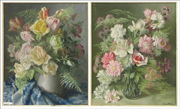 PIERRE FAU (FRENCH 1888-1960) PAIR OF STILL LIFE PAINTINGS.