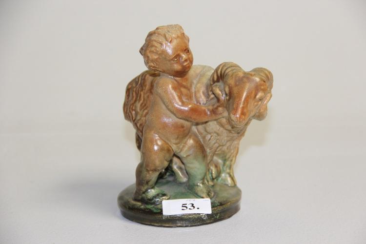 Michael Andersen# Putto med vædder, glaseret keramik, h. 17 cm.