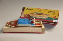 Gammelt legetøj, Schuco# Elektrisk motorbåd, i original kasse, l. 36 cm.