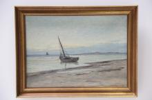 Laurits Sørensen# Kystparti med skibe, olie på lærred, 40 x 55