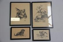 Leif Ragn Jensen# 4 tuschtegninger, Ræve og Gravhund, 11 x 17 - 27 x 22