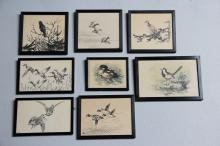 Leif Ragn Jensen# 8 tuschtegninger, Fugle, 9 x 12 - 12,5 x 19