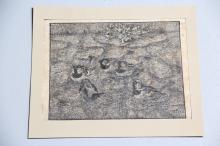 Johannes Larsen# 6 gråspurve, træsnit på japanpapir, uden ramme, lidt fugtp
