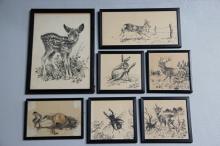 Leif Ragn Jensen# 7 tuschtegninger, Hjorte, Hare, Bille m.m., 13 x 14 - 29