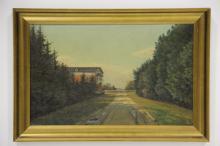 Albert Wang# Skovparti med hus, olie på lærred, 35 x 57