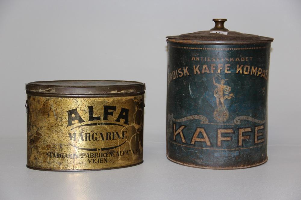 2 Gamle Dåser Nordisk Kaffe Kompagni Og Alfa Marg