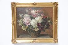 Jørgen Emil Aabye (1868-1959)# Opstilling med blomster olie på lærred signe