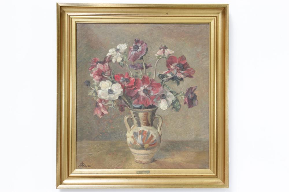 Jørgen Emil Aabye (1868-1959)# Opstilling med valmuer olie på lærred 58 x 5