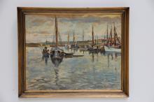 William Stuhr (1882 - 1958)# Havnen i Skagen, olie på lærred, 79 x 99/CD