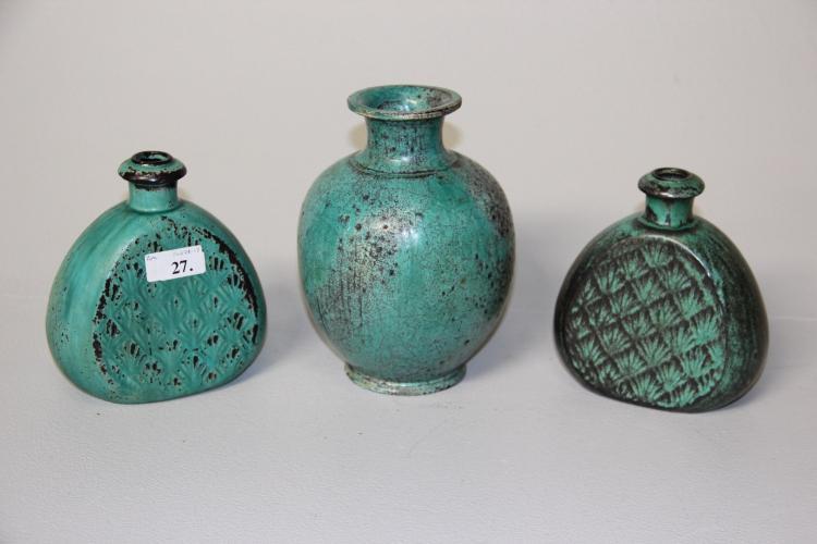 keramik kahler Svend Hammershøj for Kähler 3 vaser, grønglaseret keramik, h keramik kahler
