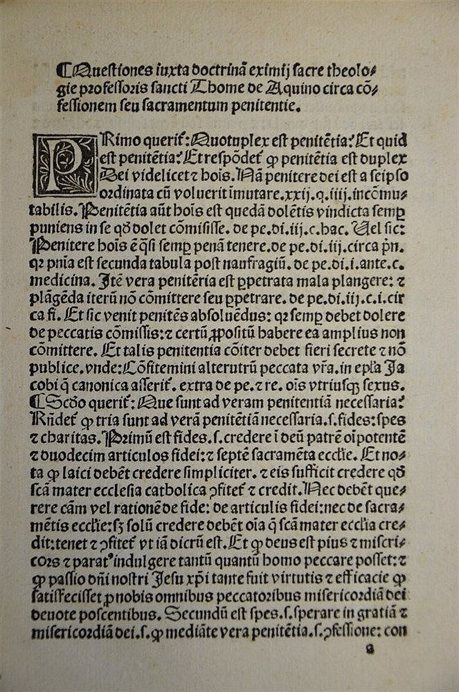 Incunable 1490 St Thomas Aquinas