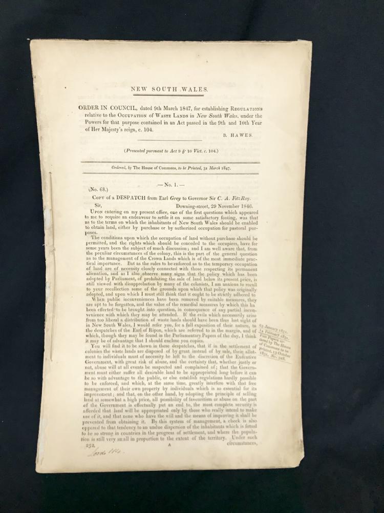 1847: Sale of Crown Land - Wastelands