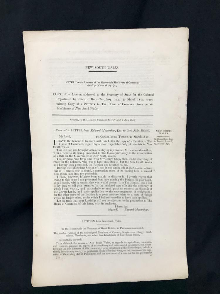 1840: NSW Macarthur Petition to House of Commons - Convicts & Politics