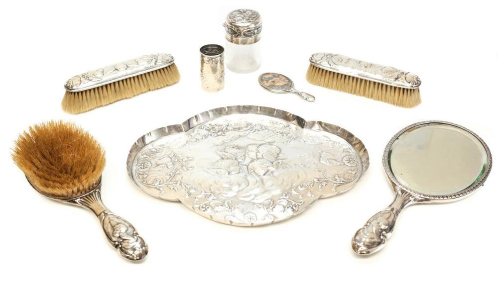 William Comyns Sterling Silver Vanity Set Cherub Angels