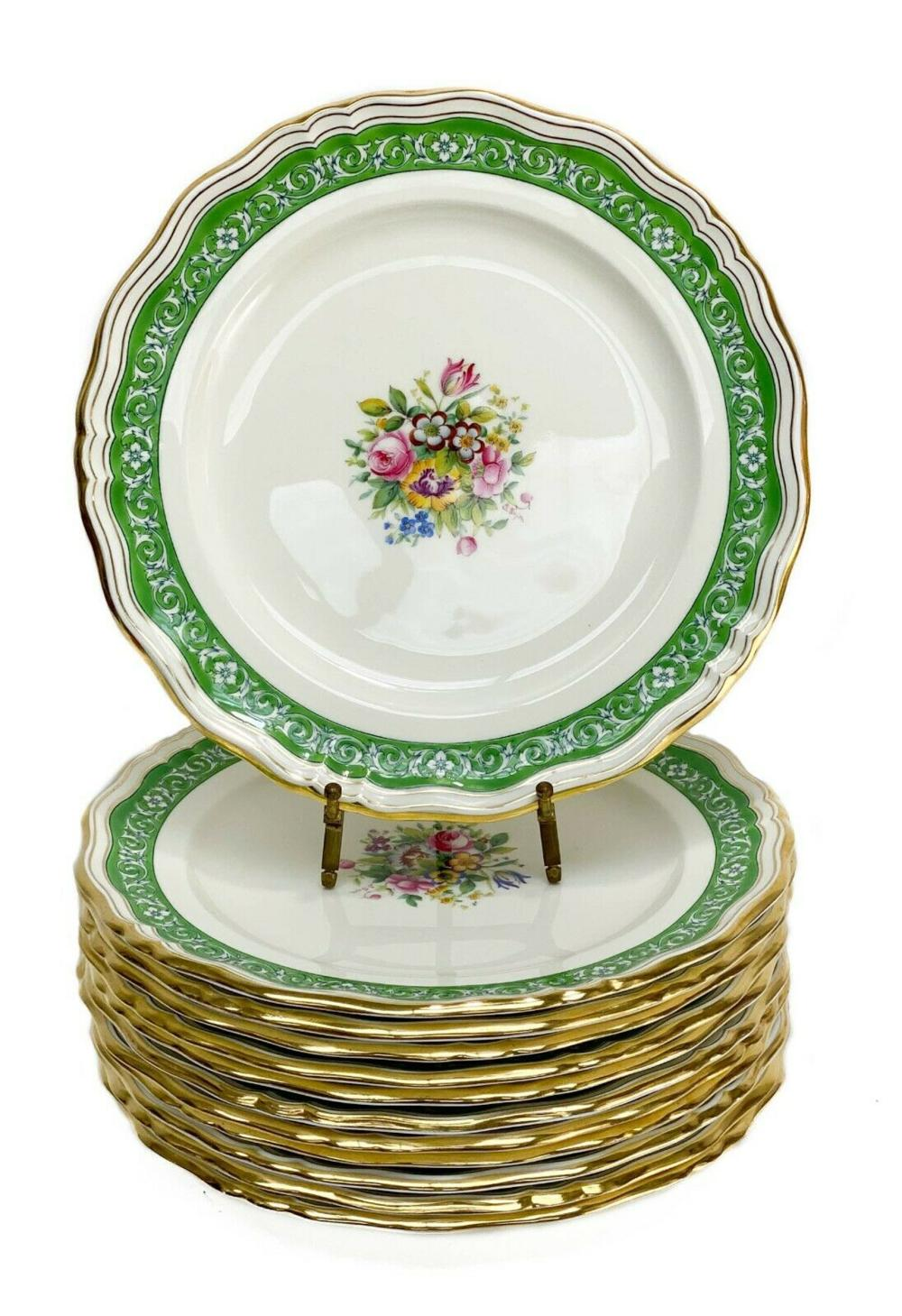 12 Minton England for Tiffany & Co. Dinner Plates Signed c.1920