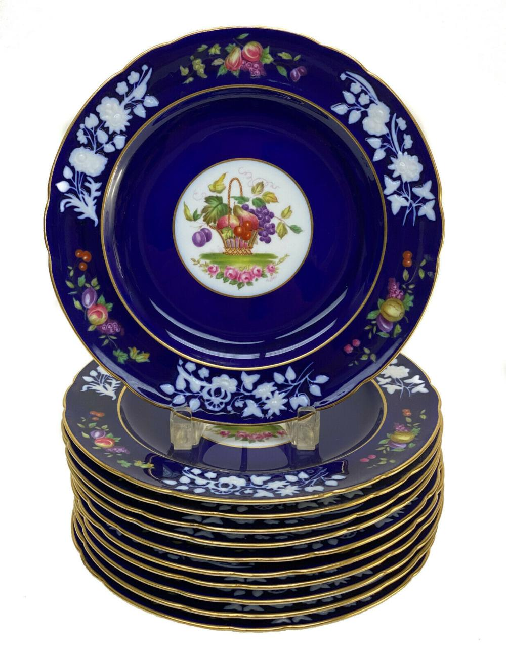 10 Copeland Spode Cobalt Blue Porcelain Dinner Plates