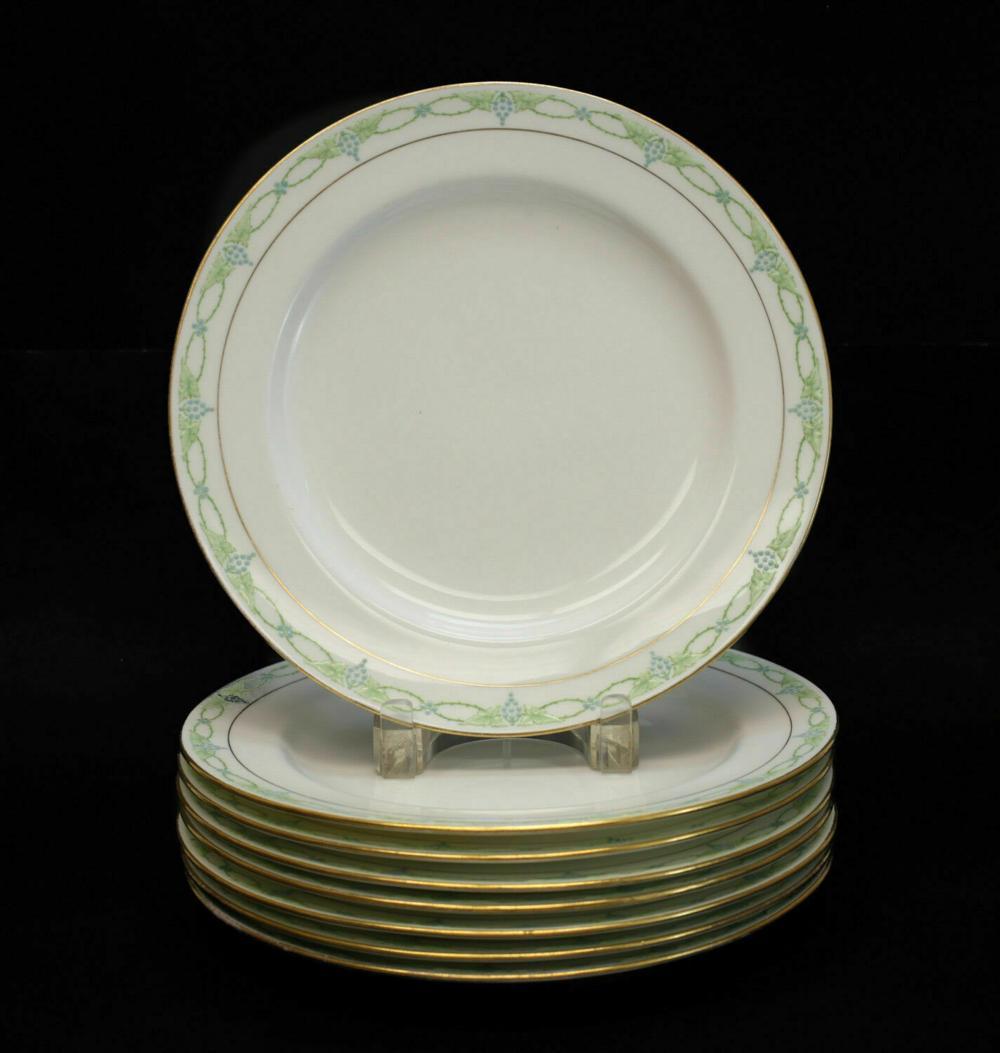8 Minton Porcelain & Enamel Dinner Plates in Anita