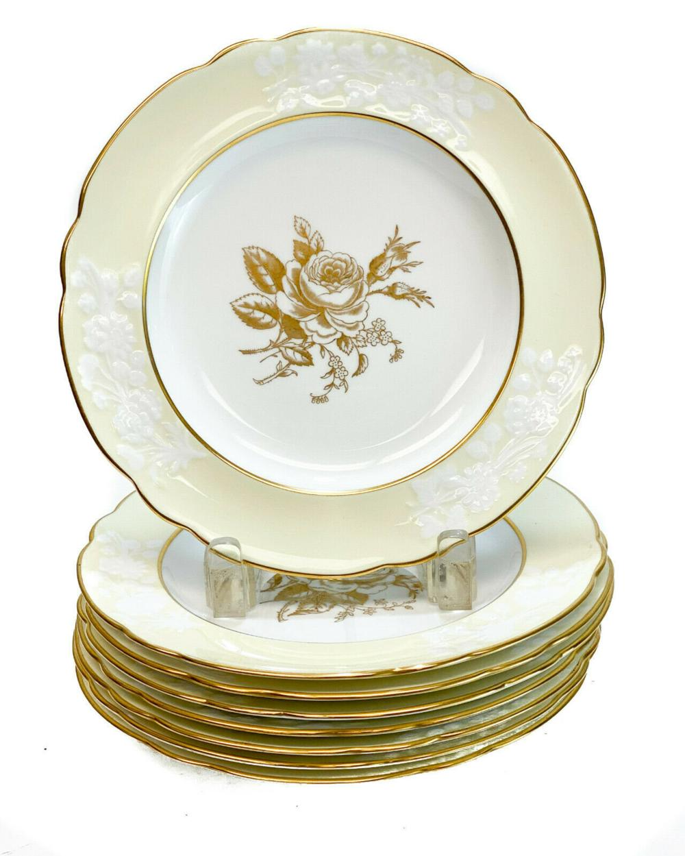 8 Copeland Spode Porcelain Salad Plates, c1900
