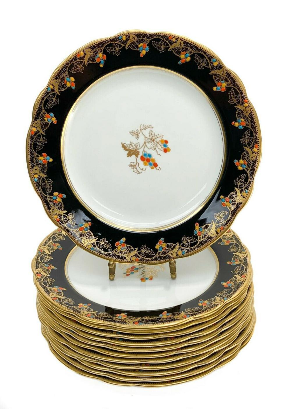 12 Aynsley Porcelain Dessert Plates with Enamel