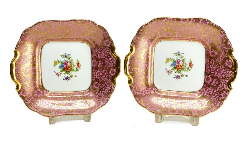 Pair Minton Porcelain Twin Handled Square Dessert Dishes