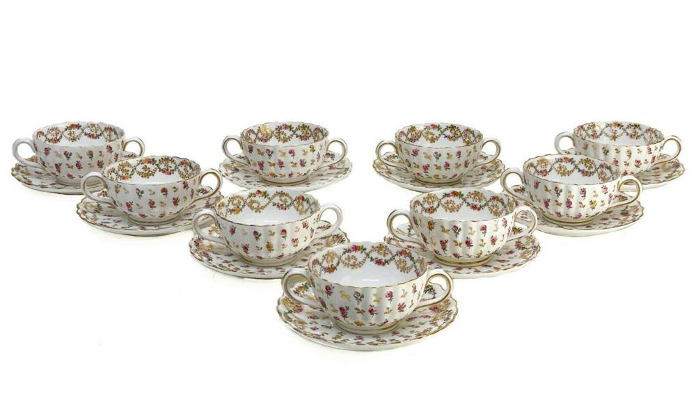 9 Copeland Spode Porcelain Bouillon Bowls & Underplates