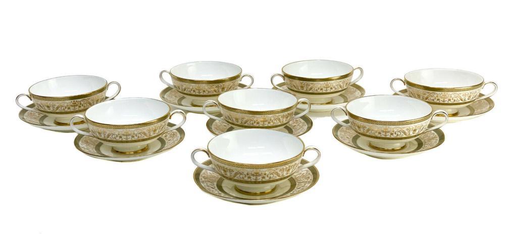 8 Minton Porcelain Bouillon Bowls Underplates Aragon