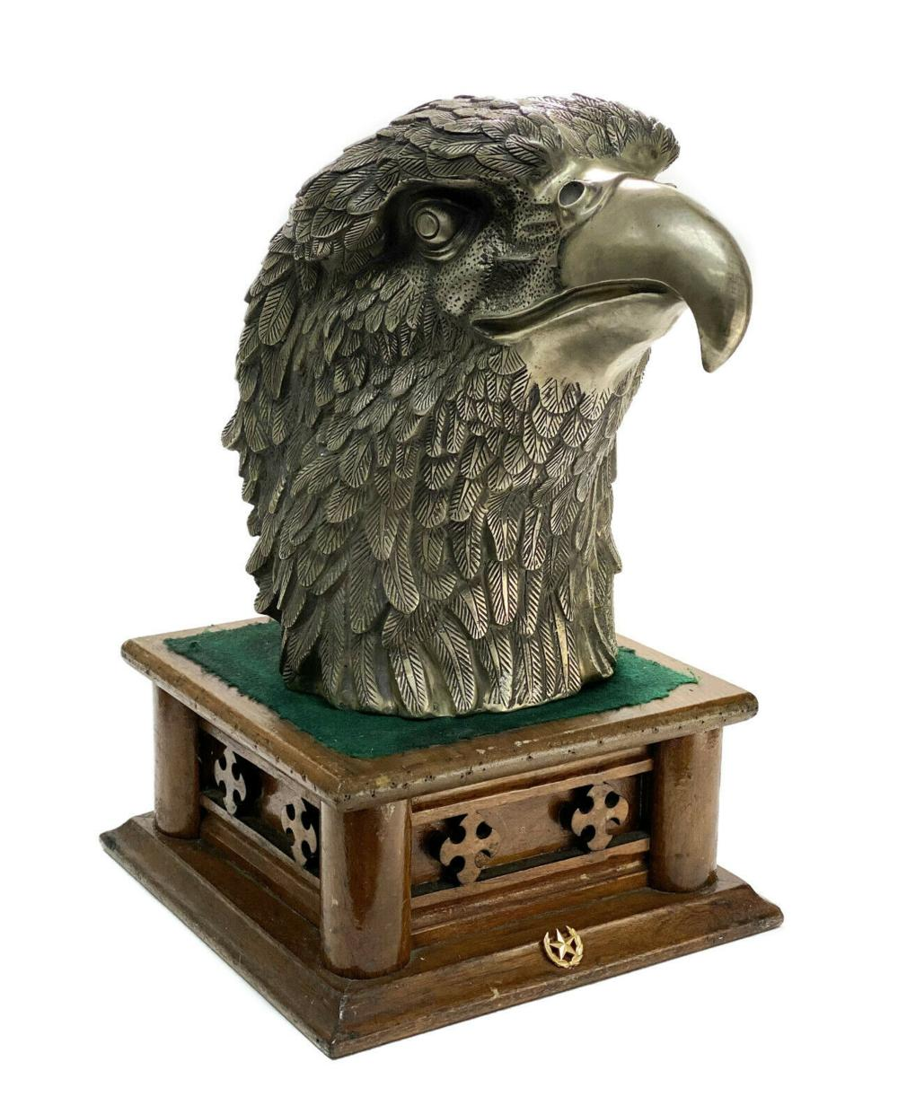 Large Chinese Silver Plate Patinated Eagle Sculpture