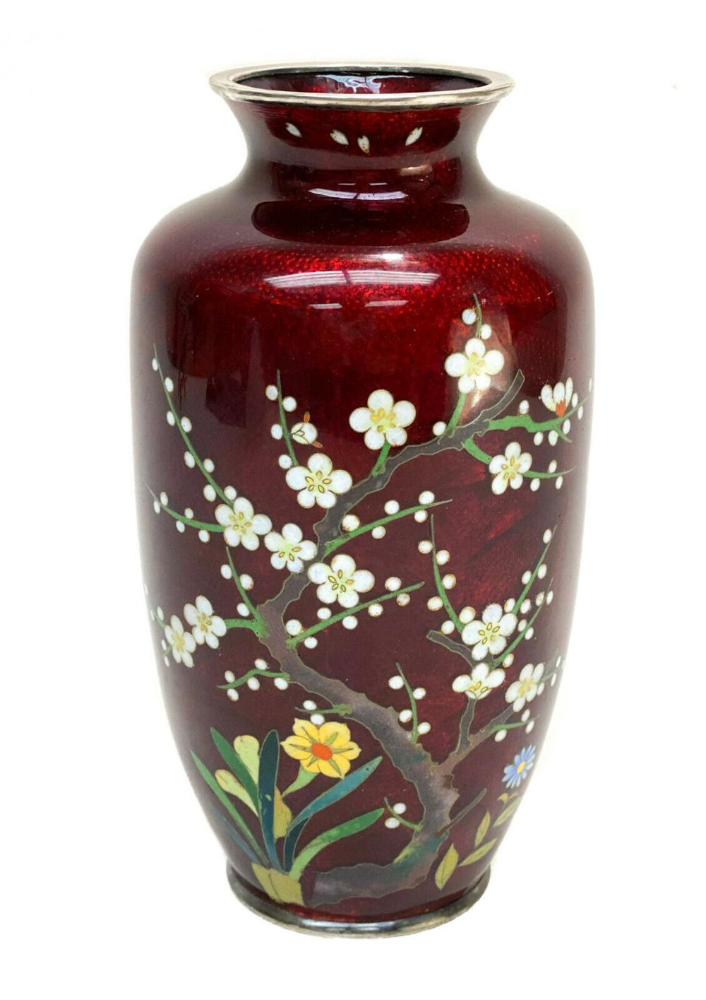 Japanese Cloisonne Enamel Ginbari Foil Silverplate Vase