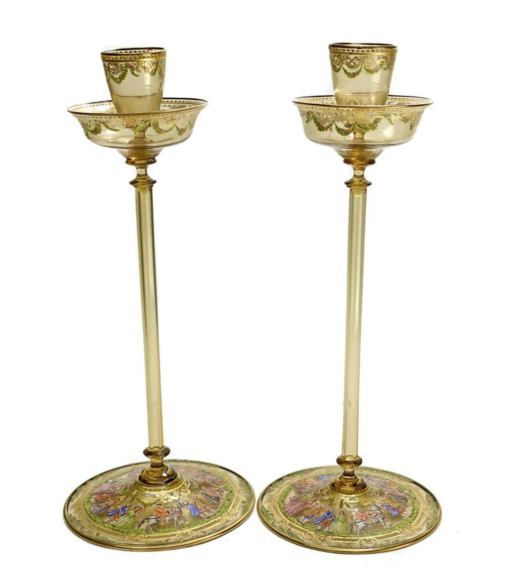 Venetian Amber Art Glass Enamel Tall Candlesticks