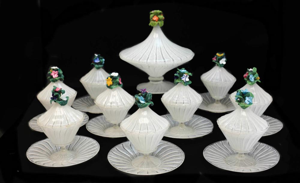 10 Venetian Art Glass Latticino Compotes & Saucers
