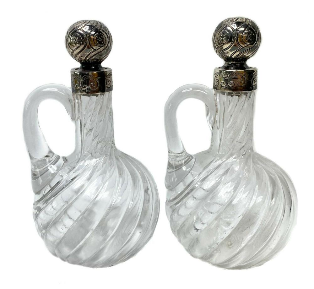 Pair French Silver Mounted and Cut Glass Cruets