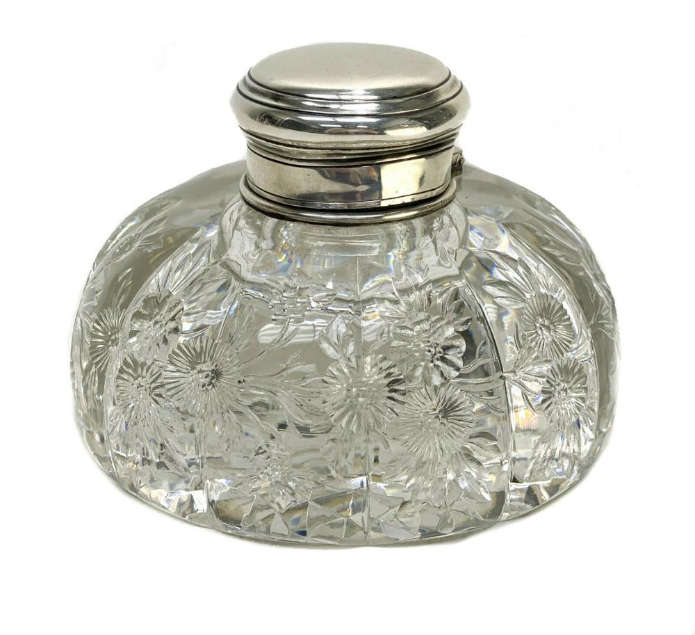 Tiffany & Co Sterling Silver & Glass Perfume Bottle