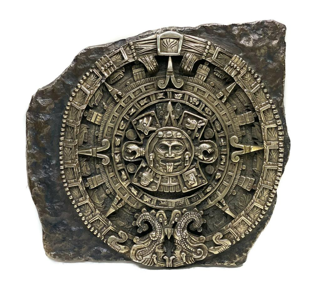 Mexico Patinated Silverplate Aztec Calendar Wall Relief