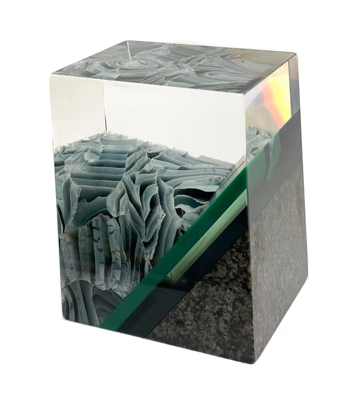William Carlson Granite and Laminated Glass Sculpture, 1994