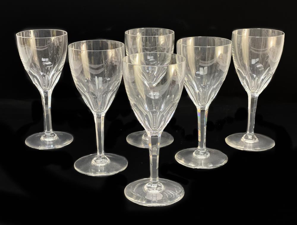 6 Baccarat France Cut Glass Wine Goblets in Genova
