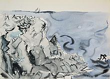 Grey Rock, Blue Grey Sea and Boat