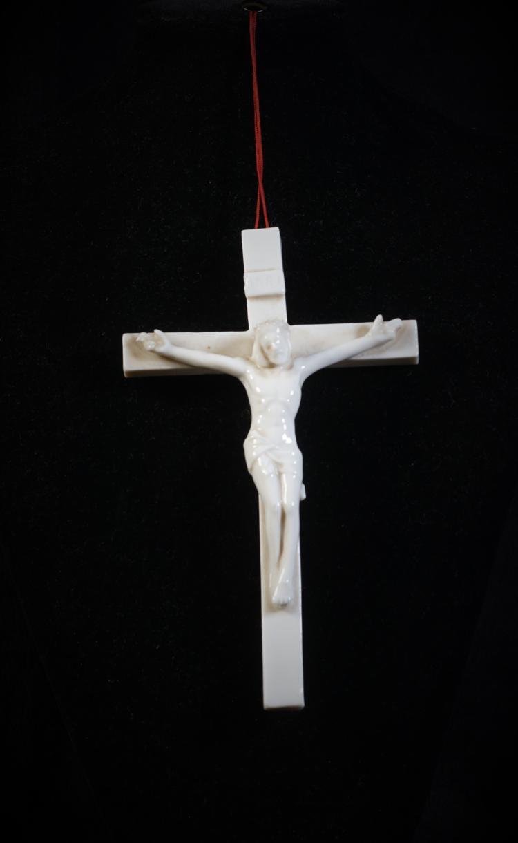 A Porcelain Jesus Cross - Qing Dynasty