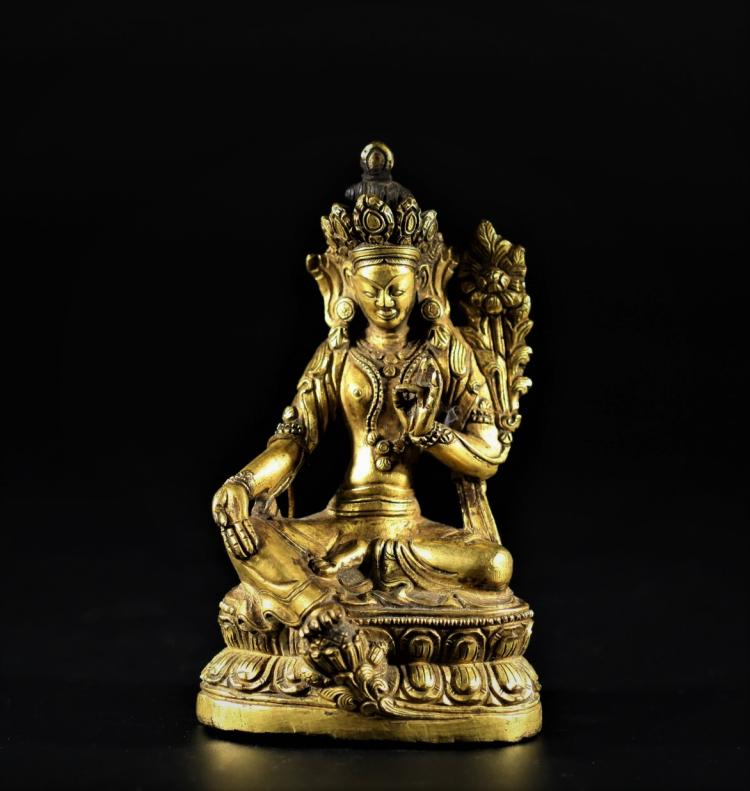 A Bronze Gliz of Bodhisattva Status - Early Qing Dynasty
