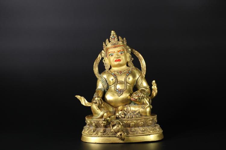 A Yellow Wealth God Statue -Qing Dynasty