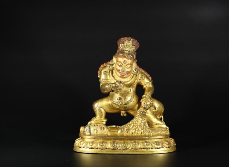 A Black Wealth God Statue -Qing Dynasty