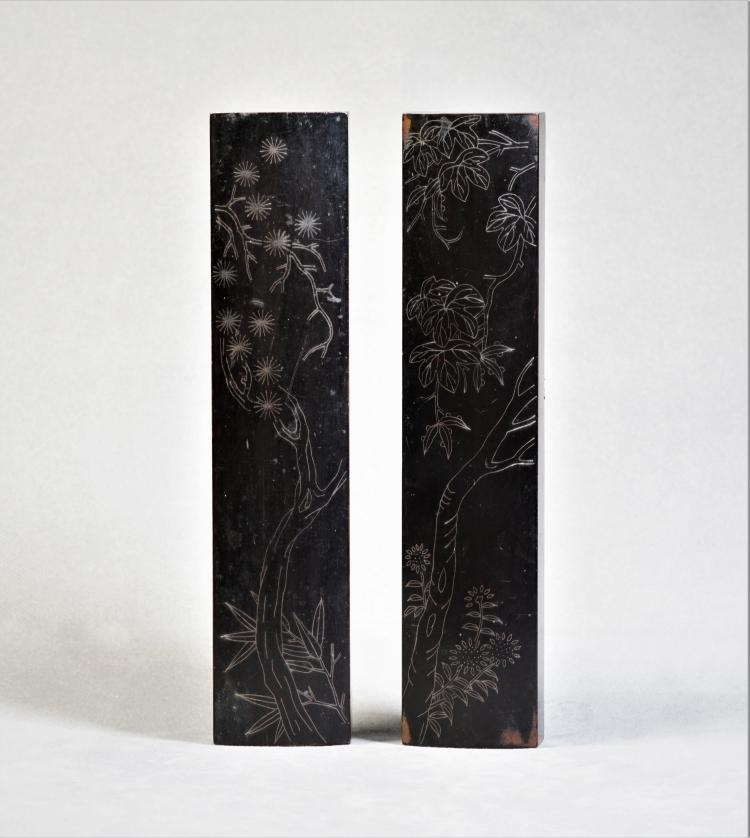 A Pair of Sliver Inlaid Pen Plate - Qing Dynasty